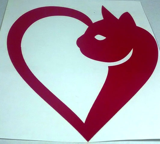 Cat heart vinyl decal