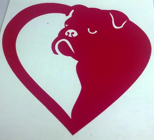 American bull dog heart vinyl decal