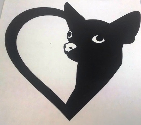 Chihuahua heart vinyl decal