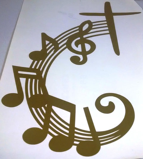 Cross music vinyl decal