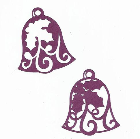 Beautiful Christmas bell silhouettes set of two