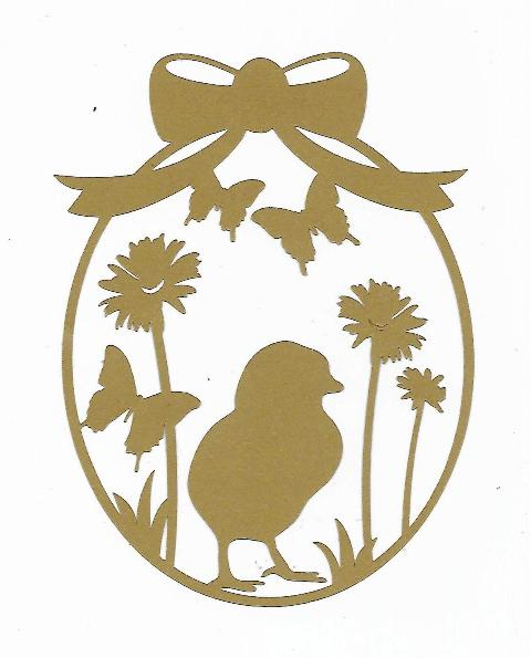 Baby chick and butterflies Easter egg silhouette