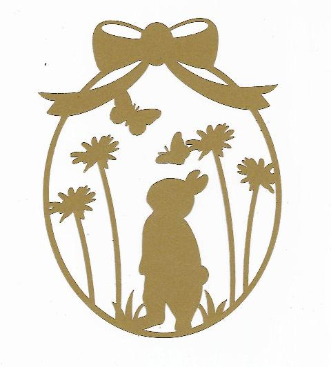 Bunny and butterfly Easter egg silhouette