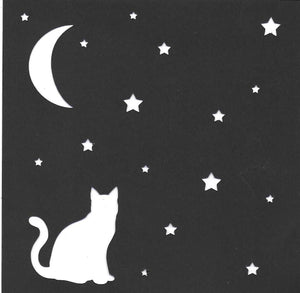 Cat and night sky stencil or print
