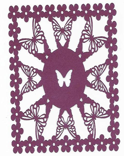 Butterfly flower panel set of four