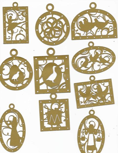 Stunning 12 days of Christmas ornament set, set of 12