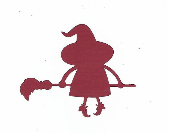 Cute witch on a broom silhouette set of four