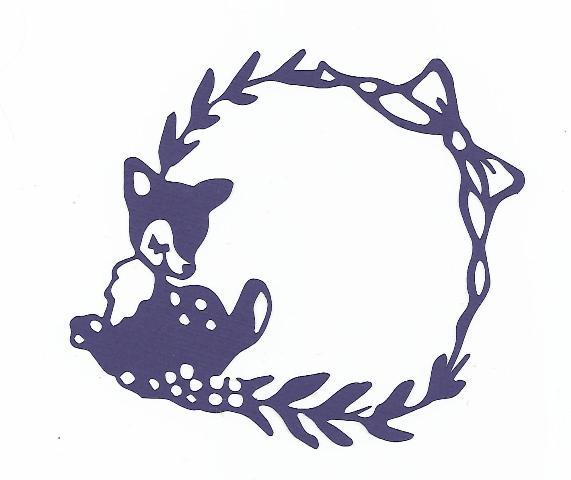 Cute little deer frame silhouette