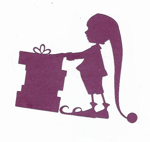 Elf with gifts silhouette