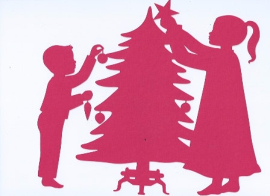 Children trimming the tree card toppers set of four
