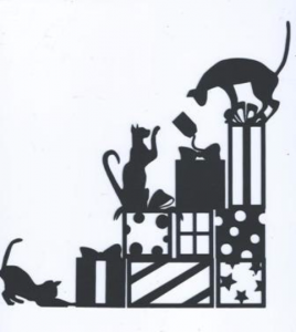 A purrfect Christmas cats with presents silhouette