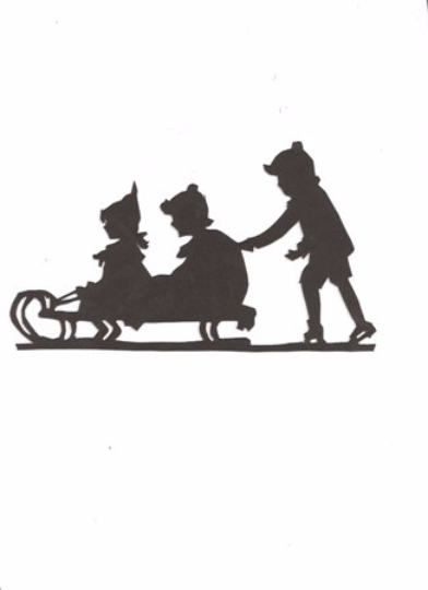 Children sledding Silhouette