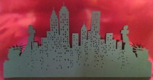 Extra large New York skyline bordered by Statue of Liberty