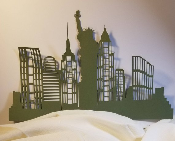 Extra large New York Skyline with Lady Liberty with windows