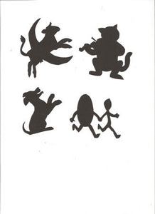 Hey Diddle Diddle Mother Goose collection silhouettes set of four