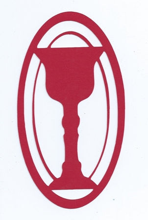 Chalice in an oval frame silhouette