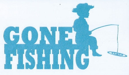 Gone fishing word silhouette