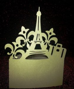 Eiffel tower suitcase standing place cards set of six
