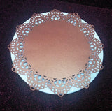 Lace doily and napkin ring set