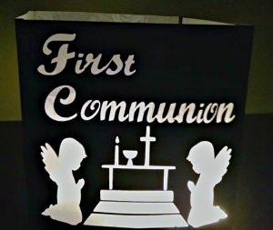 DIY First Communion luminary/ centerpiece