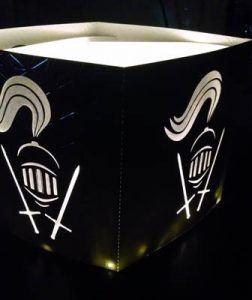 DIY Knights helmet and swords luminary