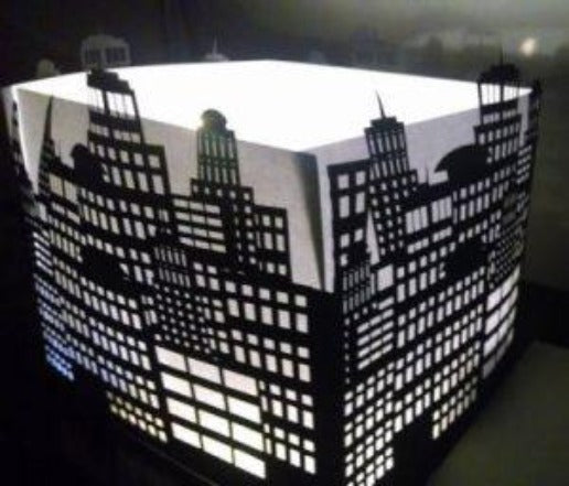 DIY Extra large Downtown skyline centerpiece / luminary
