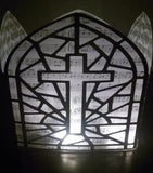 DIY Stained glass window with cross luminary / centerpiece
