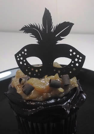 Masquerade mask cupcake toppers number four set of twelve