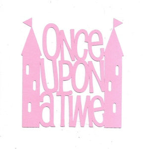 Once upon a time with castles word silhouette