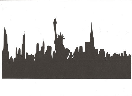 New York City skyline with Statue of Liberty large silhouette