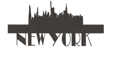 New York word silhouette with Statue of Liberty, skyline.
