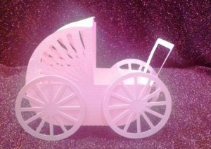 DIY 3D baby stroller favor box set of six