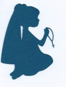 Little girl praying the rosary silhouette