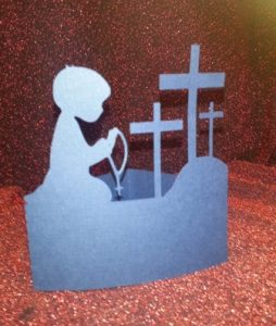DIY Little boy praying Rosary at the cross centerpiece