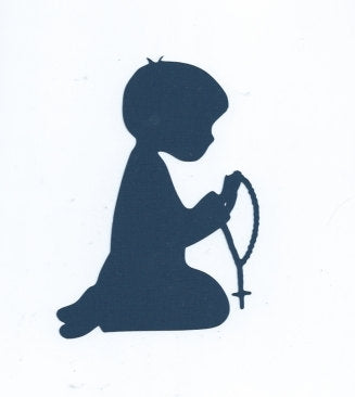 Boy praying Rosary silhouette