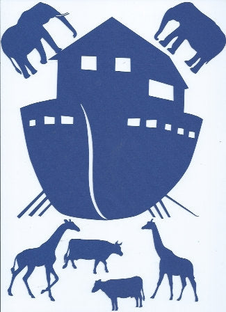 Noah's ark silhouette with animals set of 11