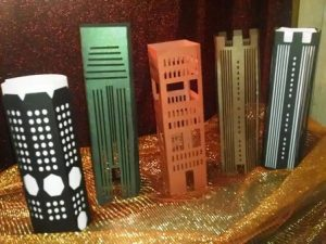 DIY Build a city skyscrapers set number 2 set of four