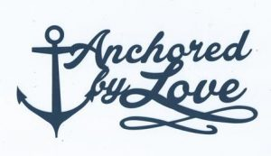 Anchored by love word silhouette