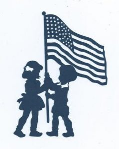 Children raising the flag silhouette