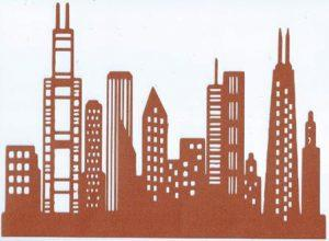 Extra large Chicago skyline silhouette