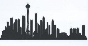 Extra large Seattle skyline silhouette