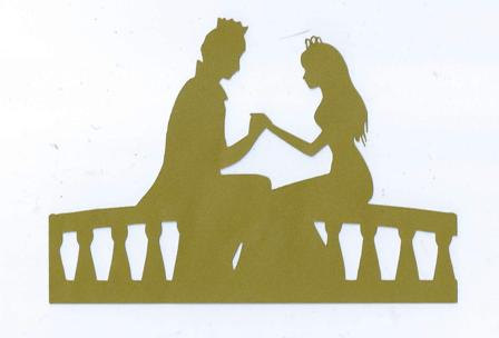 Prince and Princess holding hands silhouette