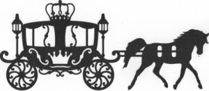 Beautiful Cinderella style coach with horse silhouette