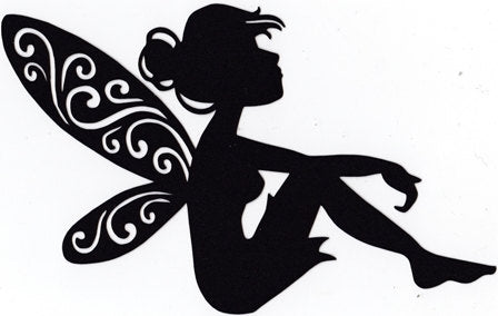 Adorable fairy sitting silhouette set of four