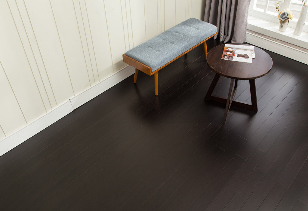 "EcoFusion - NARROW PLANK SOLID FLOORING - EBONY NIGHT COLOR SSB-EBY9812: Nail or Glue-Down Installation: 72 7/8"" x 3 7/8"" x 1/2"" with T&G Milling Profile: $5.63 Per Square Foot"