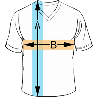 Premium V-neck T-Shirt Sizing Chart