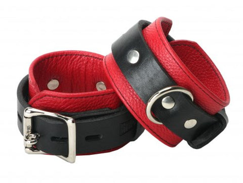 Strict Leather Deluxe Black and Red Locking Wrist Cuffs