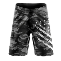 Board Shorts - Black Camo White Crest | Board Shorts