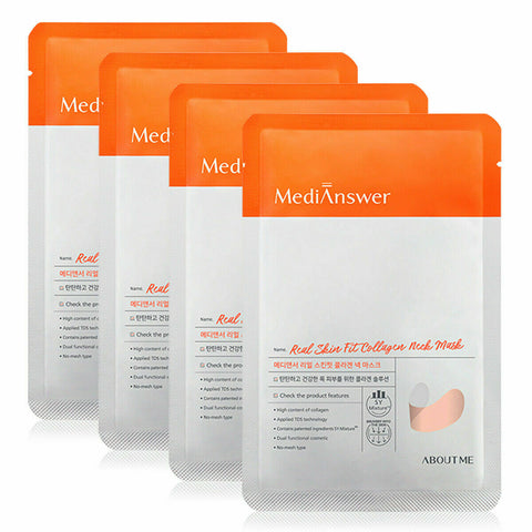 About Me MediAnswer [Medi Answer] Real Skin Fit Collagen Neck Mask 4 sheets