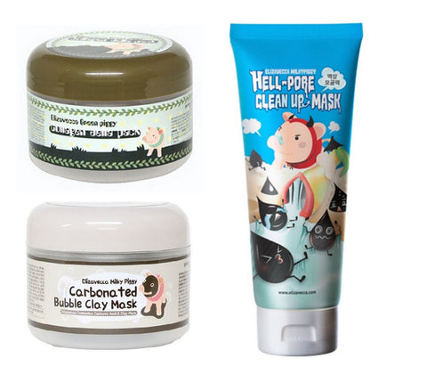 Elizavecca Carbonated Bubble Clay + Hell-Pore Clean Up + Collagen Jella Pack
